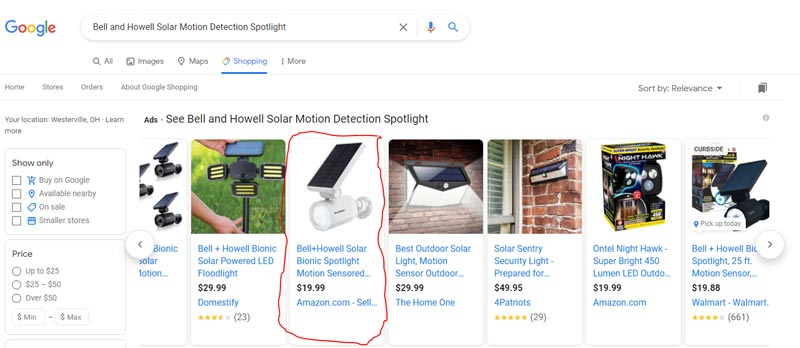 an example of an e-commerce search engine optimized product