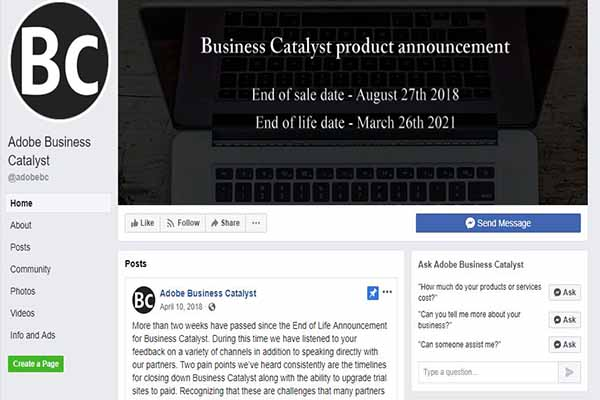 Adobe Business Catalyst announces end of life March 2021