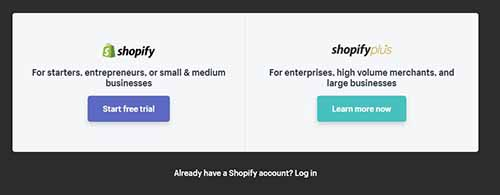 an example of a Free Trial CTA used by Shopify