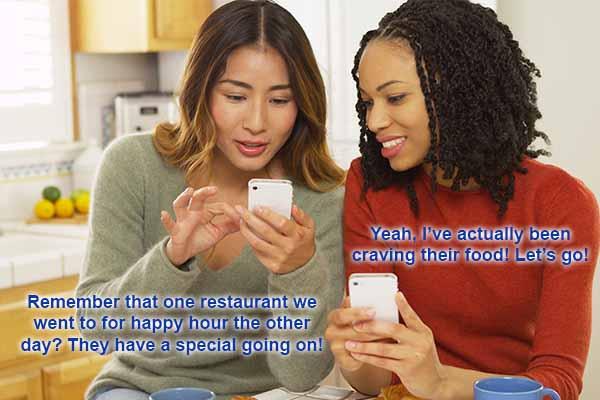 Women finding a restaurant on social media