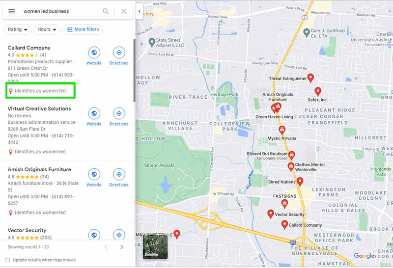 how women led business icon appears on Google Maps