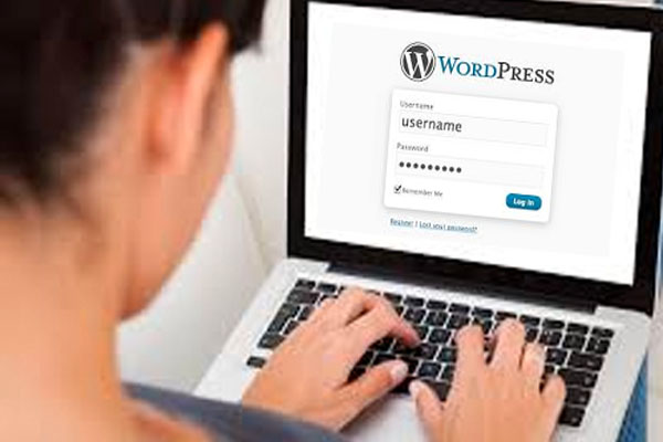 a woman logging into Wordpress on a laptop